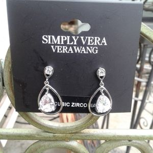 NWT Vera Wang Silver CZ Earrings